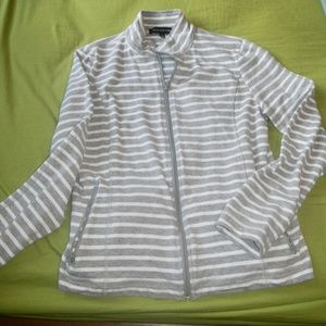 Jones of New York Gray and White Striped cardigan.